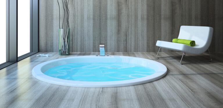 Indoor hot tub installation