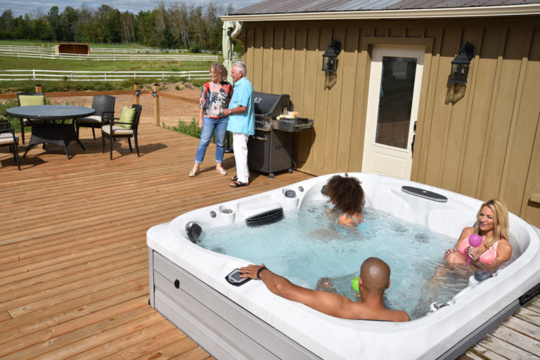 Outdoor Jacuzzi Hot Tub Installation on a Deck