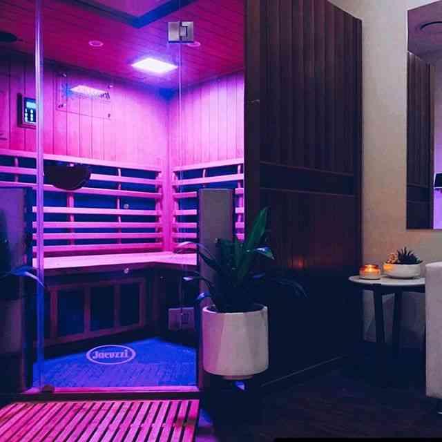 Jacuzzi Sanctuary Infrared Sauna with purple LED lights